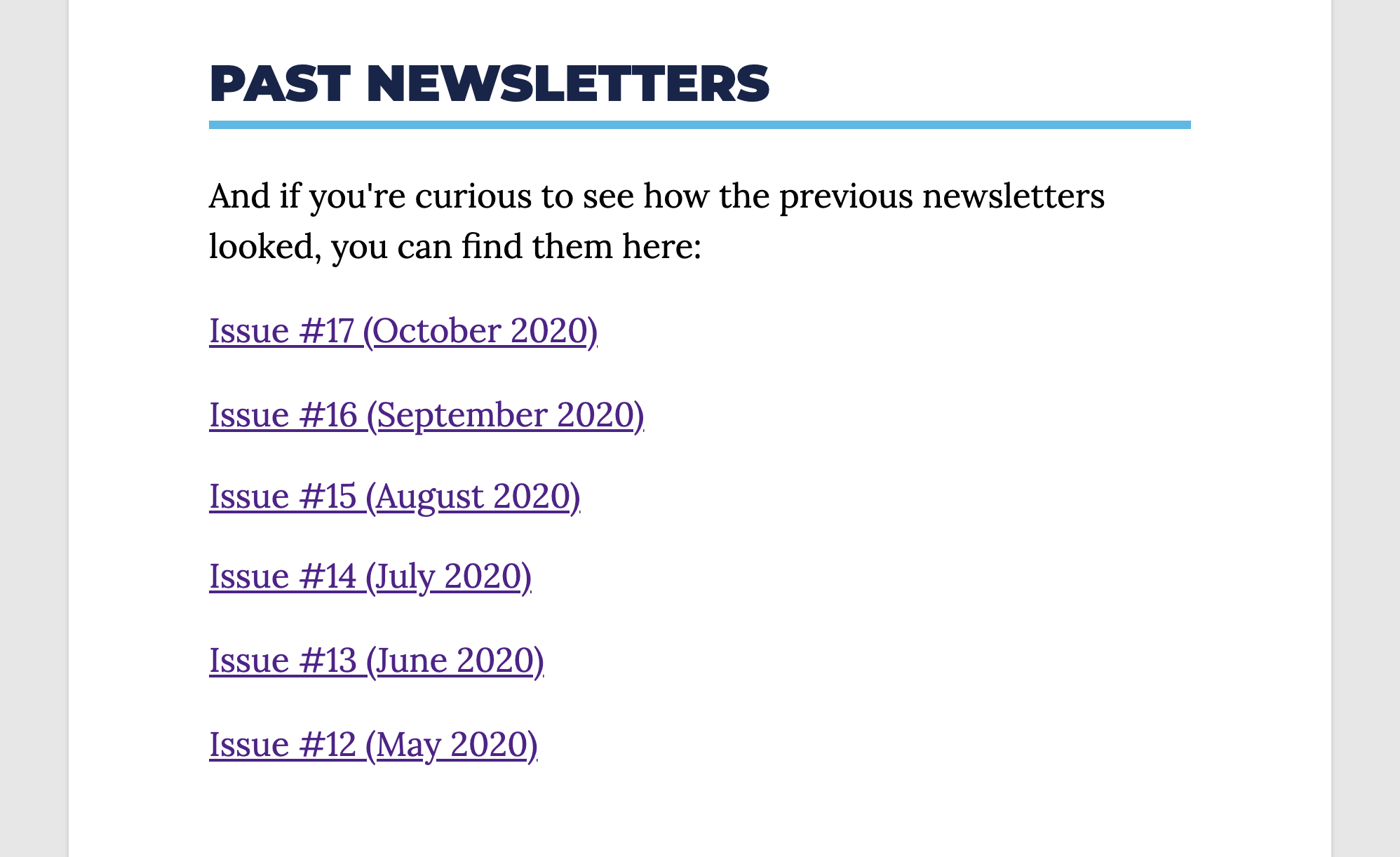 Past Issues Newsletter
