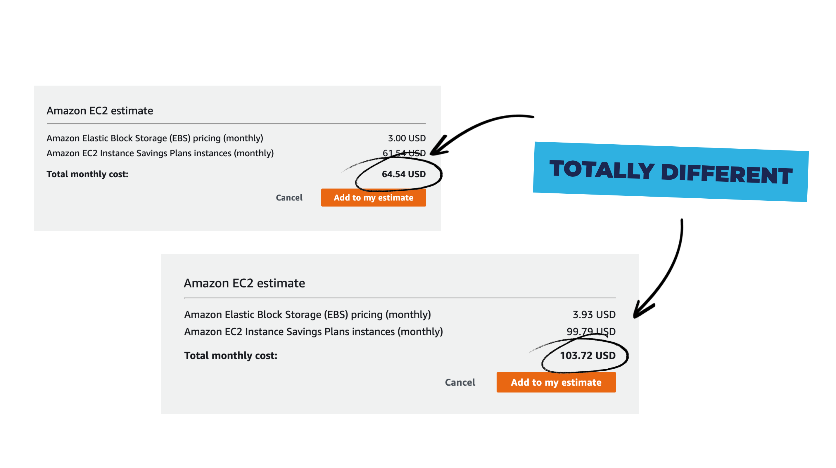Comparing the price of two EC2 instances in two regions