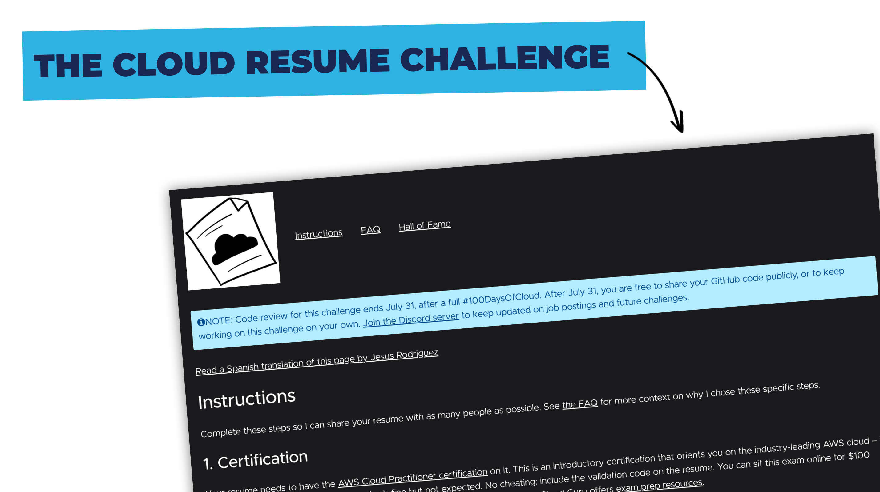 A screenshot of the cloud resume challenge steps